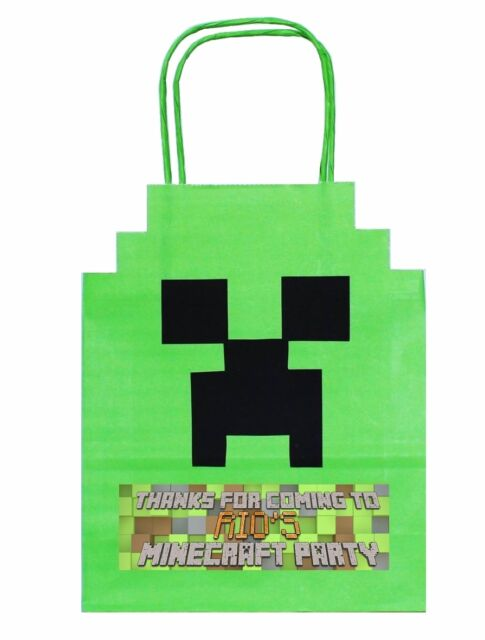 PERSONALISED MINECRAFT Party Gift Bags Birthday boy girl hen stag
