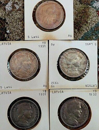 LATVIA SILVER COINS (5) 5 LATI 1929,31,32