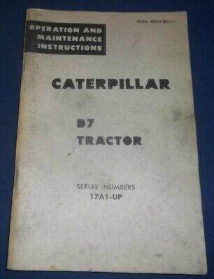 Cat Caterpillar D7 Tractor Dozer Operation Maintenance Manual Book Sn 17a