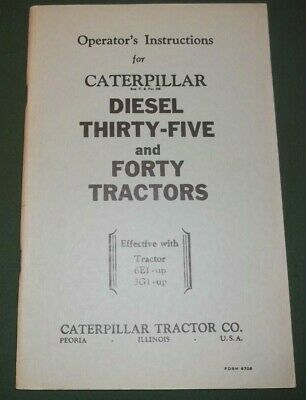 Cat Caterpillar Thirty-five Forty Tractor Operation Maintenance Manual 6e 3g