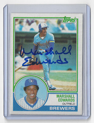 1983 Brewers Marshall Edwards Signed Card Topps  582 Auto Autographed Milwaukee