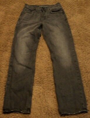 Men's Old Navy LOOSE Fit Whiskered Gray Black Jeans 32x34 actual = 31x32 .5