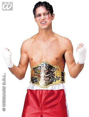 Boxing Belt Costume (Fancy Dress Gold Wrestling Belt Heavyweight Boxing Costume Champion WWA WWE WWF)