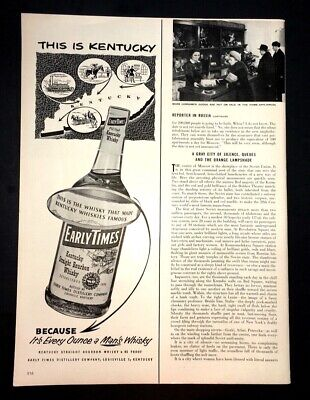 Life Magazine Ad EARLY TIMES Bourbon Whisky 1954 Ad for sale  Southbury