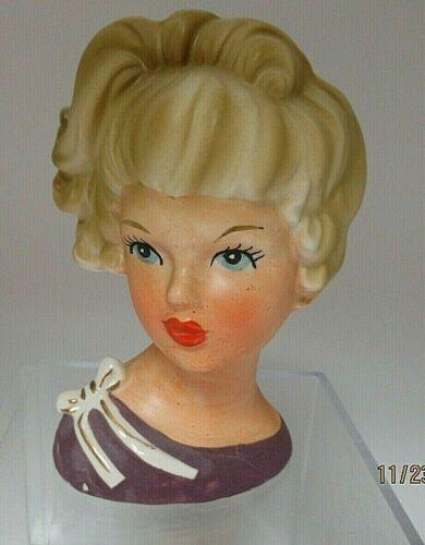 Vintage Lady Headvase Relpo K1942 in Purple LOVELY***