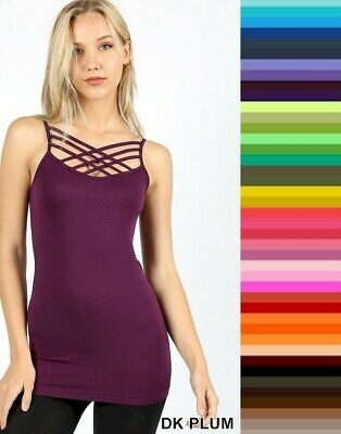 Zenena Caged Cami Tank Top Triple Criss Cross Seamless Stretch S/M - L/XL