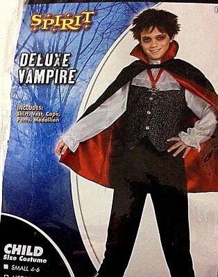 Boys Vampire Costume Spirit Halloween shirt vest cape pants Large - Spirit Halloween Costumes For Boys