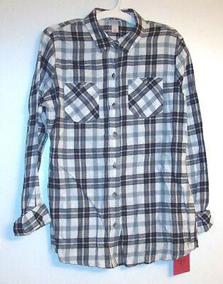 (Mossimo Supply Co. Womens Black White Plaid Flannel Shirt S  M  L  XL  XXL NWT)