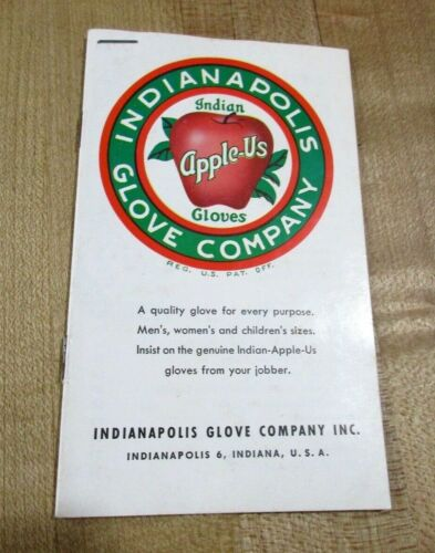 1962 Indianapolis Glove Co Indian Apple Us Brochure with calendar >