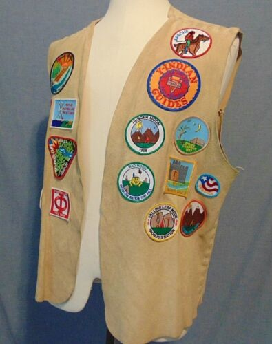 YMCA Illinois Boy Scout Leather Vest Camping Hastings Lake Apache Patch 1996