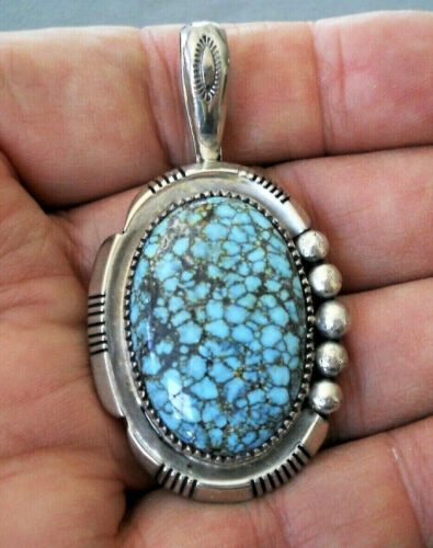 CHARLESTON DRAPER Native American Spiderweb Turquoise Sterling Silver Pendant