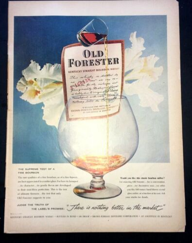 Life Magazine Ad OLD FORESTER Kentucky Bourbon Whisky 1958 Ad V2