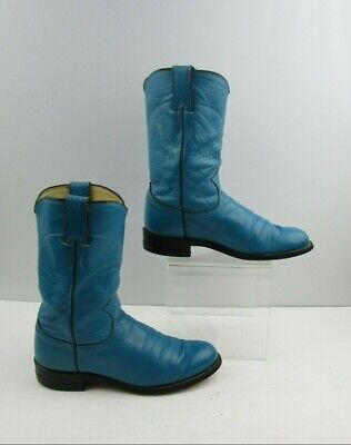 Ladies Justin Blue Leather Western Roper Boots Size: 6 B - Blue Cowboy Boots