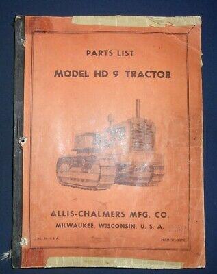 Allis Chalmers Hd-9 Crawler Tractor Dozer Bulldozer Parts Manual Book Catalog