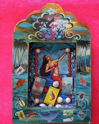 Mexican Loteria mermaid tin shadow box wall hanging nicho folk art diorama