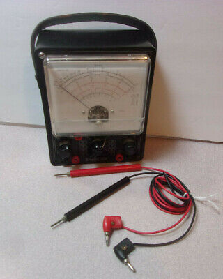 Vintage Ics Electric Volt Meter W Test Wires Carry Handle