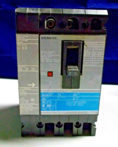 Siemens 125A Circuit Breaker Catalog # ED43B125 3 Phase, shunt trip cat. S01ED60
