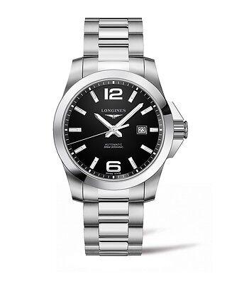 New Longines Conquest Black Dial Automatic Steel Men's Dive Watch L37784586