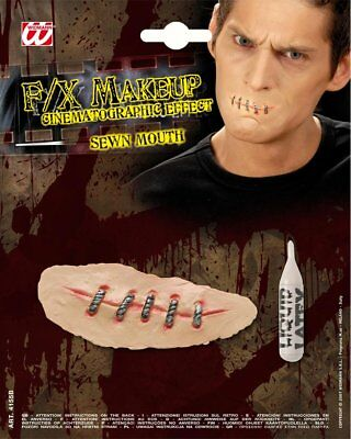 Sewn Mouth Latex Scar Zombie Horror Stitched Lips Halloween Fancy dress - Sewn Lips Halloween