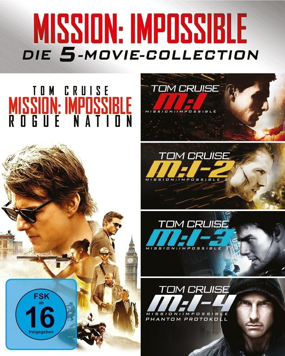JON VOIGHT, TOM CRUISE - MISSION IMPOSSIBLE 1-5 SCHUBER 5 BLU-RAY NEU