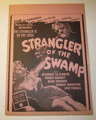 Original old Vintage 1940's - STRANGLER Of the SWAMP - Movie Poster - Monster