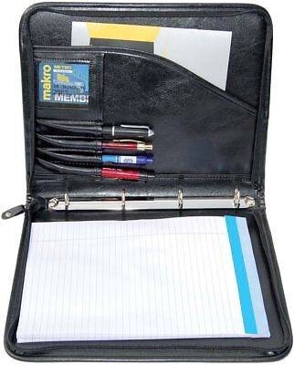 A4 Conference Folder Zipped Folio Case Pu Leather Business Organiser Ring Binder for sale  Shipping to Ireland