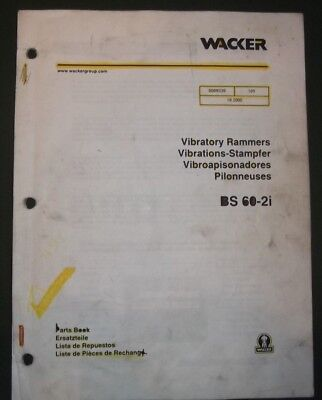 Wacker Bs 60-2i Vibratory Rammer Compactor Parts Catalog Book Manual