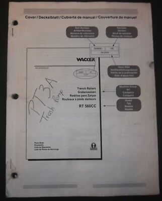 Wacker Rt-560cc Trench Roller Parts Catalog Book Manual