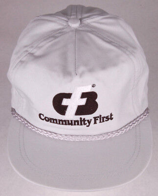 Vtg Community First Hat Gray Leather Strapback Rope Bill Arvada Co Usa Cash Bank