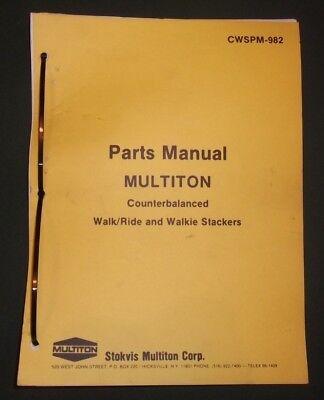 Multiton Counter Balanced Walk Ride Walkie Stacker Parts Book Manual