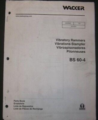 Wacker Bs 60-4 Vibratory Rammer Compactor Parts Catalog Book Manual