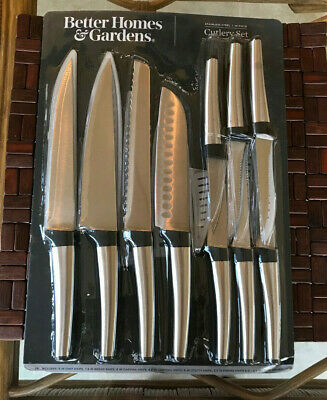 BETTER HOMES & GARDENS 10 PIECE STAINLESS STEEL CUTLERY KNIFE KNIVES SHEATH