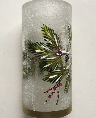 YANKEE CANDLE WINTER SPARROW FROSTED CRACKLE GLASS TEA LIGHT HOLDER HOLIDAY VHTF