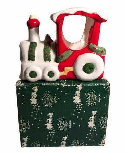Vintage ENESCO Ceramic Christmas Train Votive Candle Holder Original Box 70s 80s