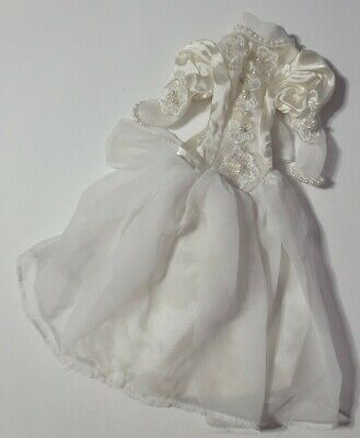 BARBIE DOLL CLOTHES WHITE BEADED FAUX PEARL LACE BUTT BOW WEDDING GOWN DRESS