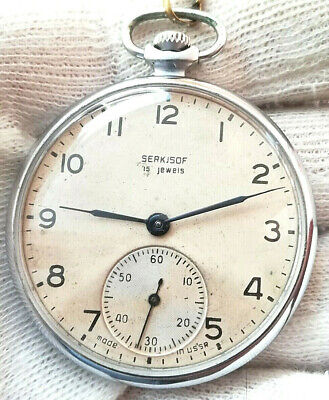 "SERKISOF ""MOLNIJA"" CCZ 15JEWELS OLD 1963 MECHANICAL POCKET WATCH USSR"