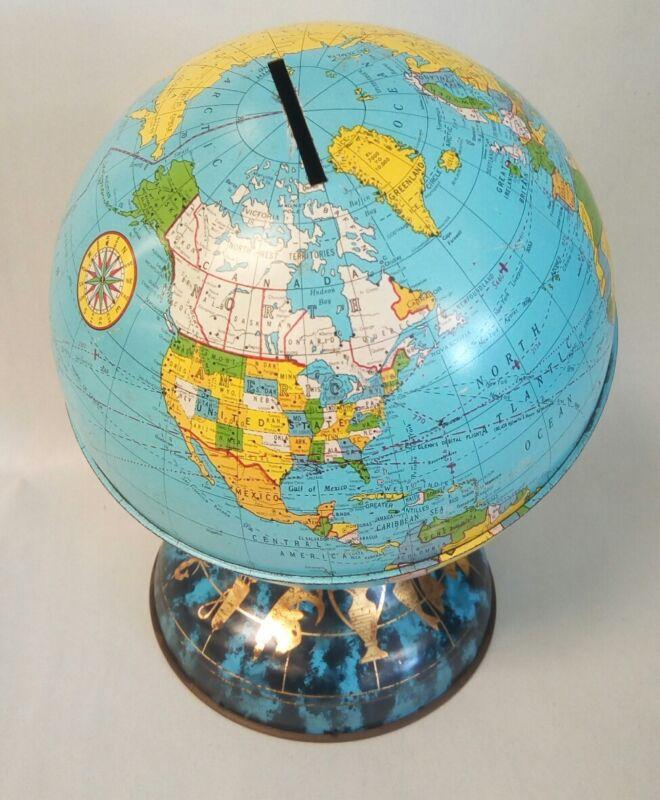 "1962 Ohio Art 6"" Metal Globe Bank Commemorating John Glenn"