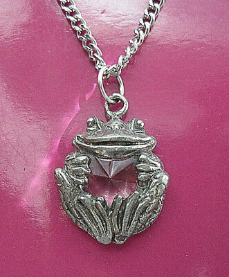 """FROG  -  necklace  Made in USA , comes with 20"""" chain & cord GIFT BOXED"""