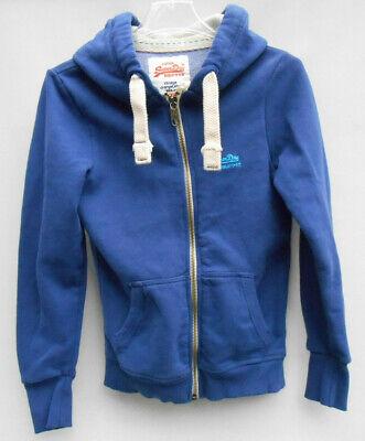 Women's SuperDry Vintage Orange Label Blue Full Zip Hoodie Size M