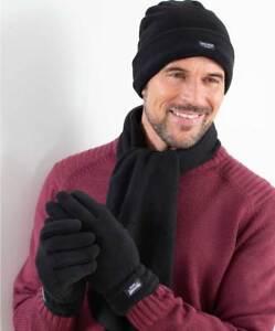 Men's Thermal Hat, Scarf and Glove Set Black