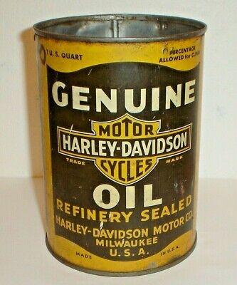 Vintage 1940's Harley-Davidson All Tin / Metal Quart Motorcycle Oil Can Original