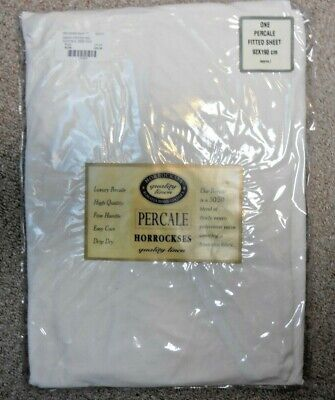 Horrockses, Percale, single fitted sheet.Plain Natural, 92 x 190 cm