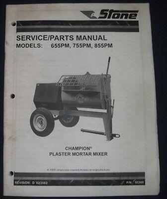 Stone 655pm 755pm 855pm Plaster Mortar Mixer Service Shop Repair Parts Manual