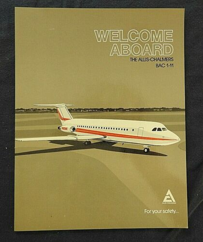 """1976 """"ALLIS-CHALMERS BAC 1-11 N825AC CORPORATE JET AIRLINER BROCHURE"""" RARE PIECE"""