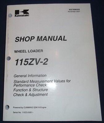 Kawasaki 115zv-2 Wheel Loader Service Shop Repair Workshop Manual