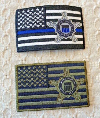 UNITED STATES SECRET SERVICE PATCHES - THIN BLUE LINE / SUBDUED  - TWO PATCHES