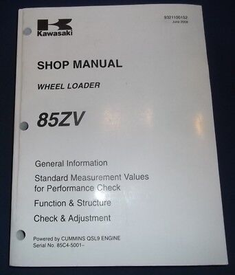 Kawasaki 85zv Wheel Loader Shop Service Repair Manual Powered By Qsl9 Cummins