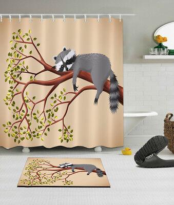 Tired Raccoon in Branch Shower Curtain Waterproof Fabric Summer Bathroom Liner ()