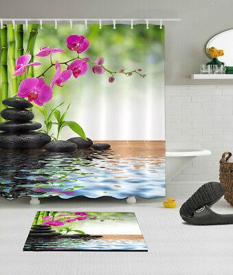 Spring Spa Fabric Shower Curtain Set Orchid Energy Stone Decor Bathroom (Spa Fabric Shower)