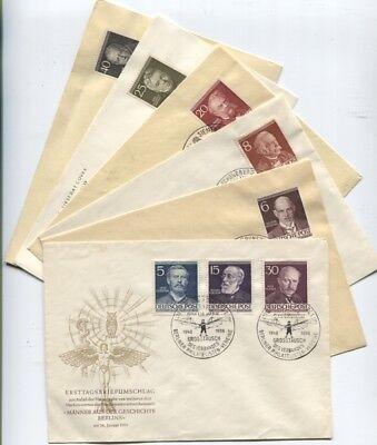 Berlin 92-94 und 96-100 Köpfe auf 6 amtlichen FDCs und so komplett 1952 (B07973)